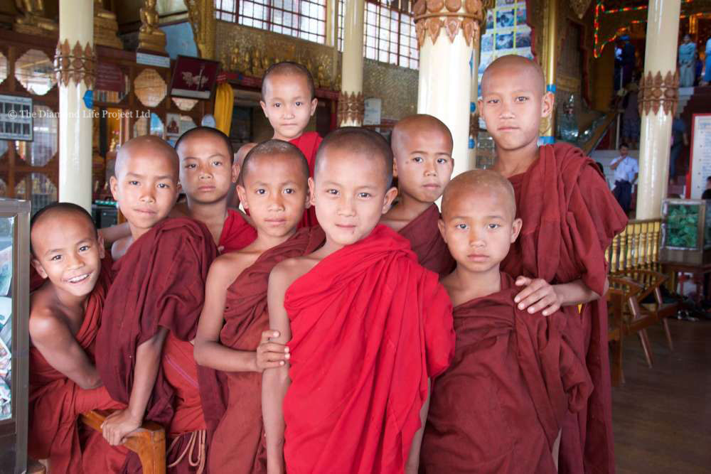 Novice monks, South East Asia. Taken by Linda Thomson