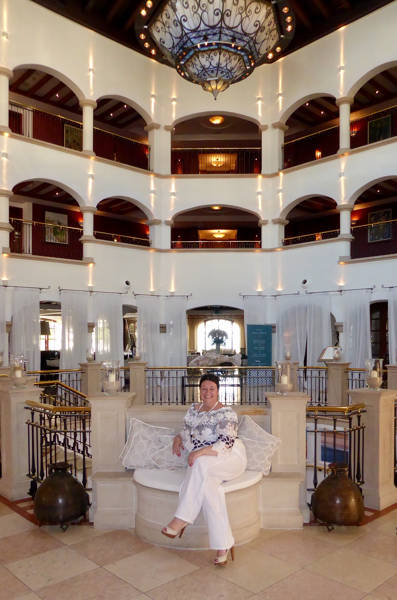 Linda in fabulous hotel